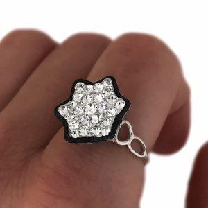 Handmade Black White Swarovski Crystal Flower Ring